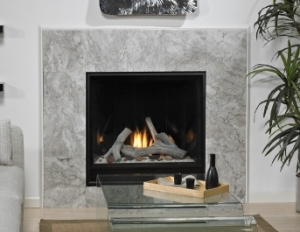 A marble, contemporary fireplace
